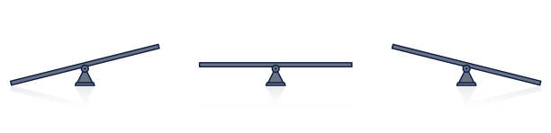 Seesaw balance. Equal and unequal weight, balanced and unbalanced. Simply illustrated seesaw icons. Isolated vector illustration on white background. vector art illustration