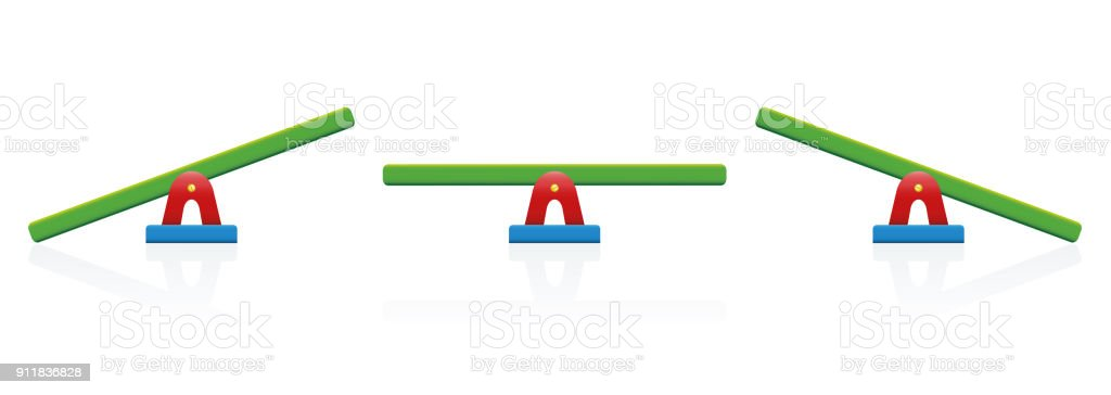 Seesaw - colored balance toy set - three positions, balanced and unbalanced, equal and unequal weightiness - isolated vector illustration on white background. vector art illustration
