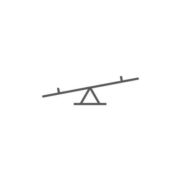 시 소 게임 벡터 아이콘, 흰색 배경에 고립 - 균형 stock illustrations