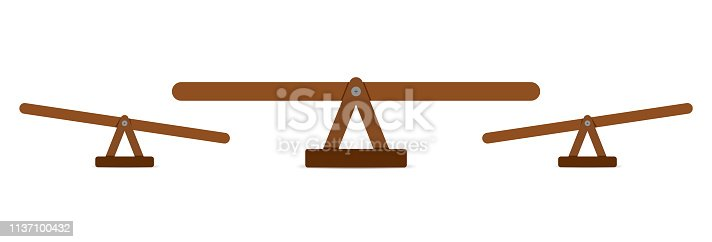Seesaw or wooden balance scale  . Teeter equal board