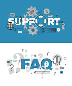 SEet of word banners for support and faq web pages