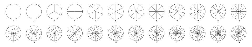 Segment slice sign. Circle section graph line art. Pie chart icon. 2,3,4,5,6 segment infographic. Wheel round diagram part. Five phase, six circular cycle. Geometric element. Vector illustration