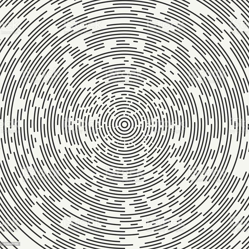Segmented geometric shape. Radial concentric circles. Rings. Swirly segmented circles. vector art illustration