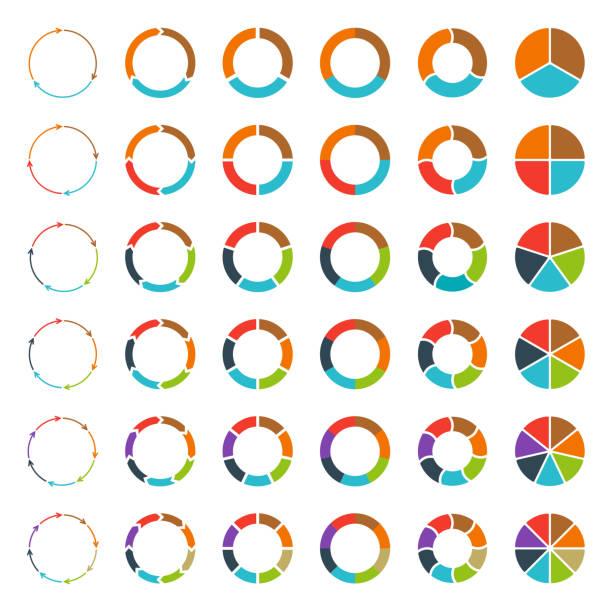 podzielona na segmenty wykresów kołowych i strzałki ustawić. - część stock illustrations