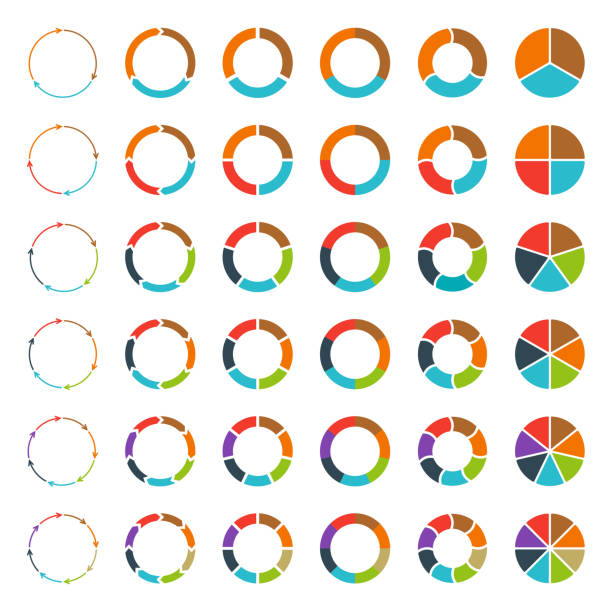 Segmented pie charts and arrows set. Segmented and multicolored pie charts and arrows set with 3, 4, 5, 6, 7 and 8 divisions. Template for diagram, graph, presentation and chart. part of stock illustrations