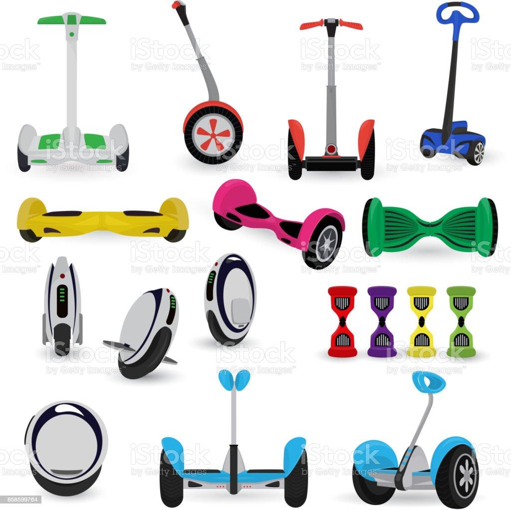 Segway monowheel solo wheel hoverboard gyroscooter set electro eco transport vector illustration vector art illustration