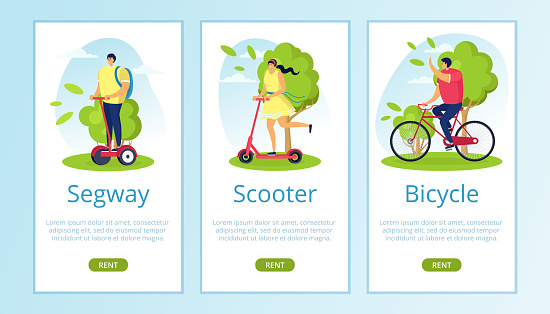 Segway, scooter, bicycle rent for eco travel on nature vector illustration. Modern urban lifestyle on technological transport.