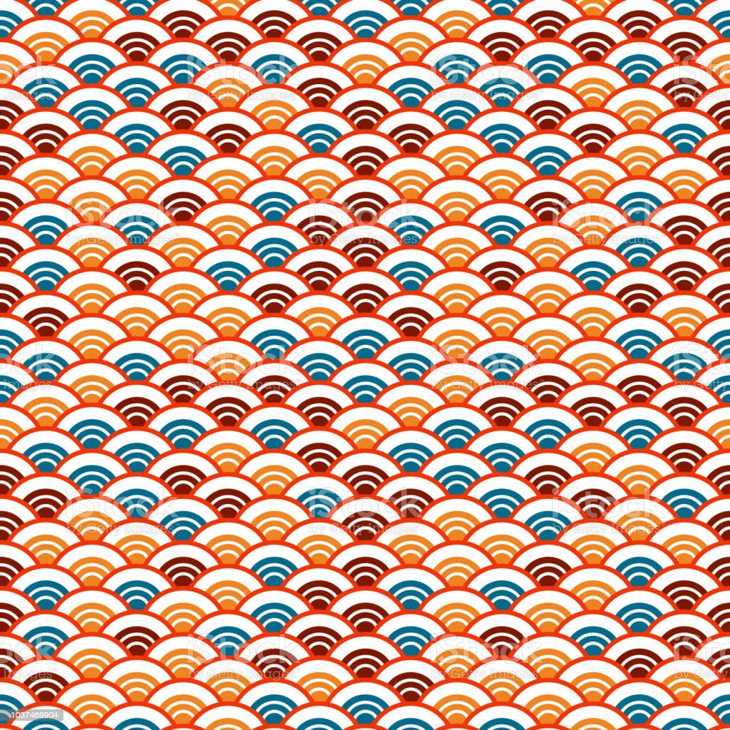 Seigaiha or seigainami literally means wave of the sea. abstract scales simple Nature background with japanese circle seamless pattern white orange red brown blue colors. Vector vector art illustration