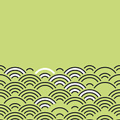 Seigaiha or seigainami literally means wave of the sea. card banner design abstract scales simple Spring Nature background with japanese circle Black green white colors. Vector
