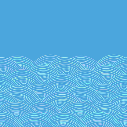 Seigaiha or seigainami literally means wave of the sea. card banner design for text abstract scales simple Nature doodle lines background, your text japanese circle pattern blue. Vector