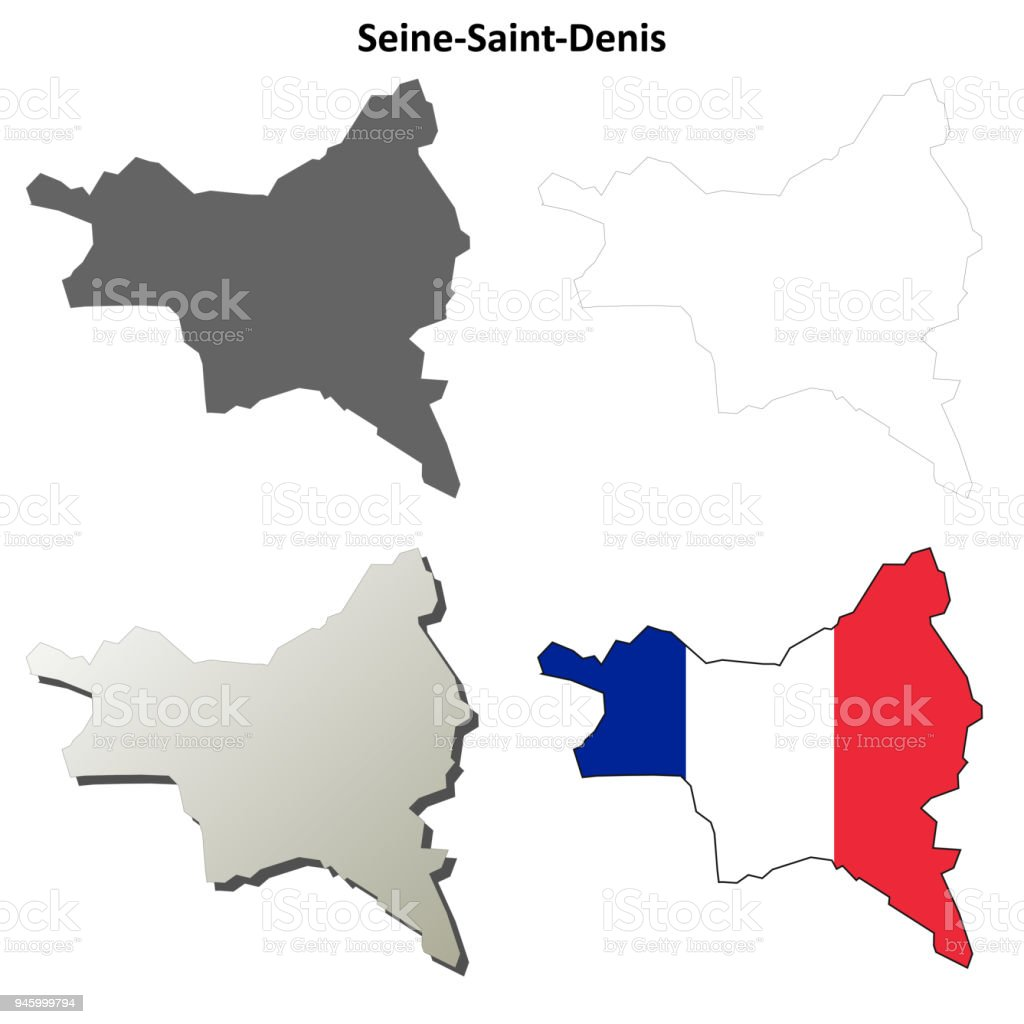 Map France 945.Seinesaintdenis Iledefrance Outline Map Set Stock Illustration