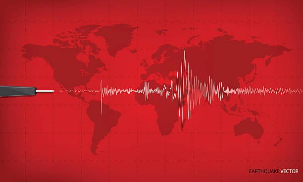 Seismic activity graph showing an earthquake on world map background. Seismic activity graph showing an earthquake on world map background. red tone art design. Vector illustration. earthquake stock illustrations