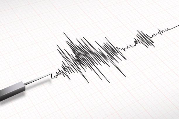 seismograph machine earthquake vector Closeup of a seismograph machine earthquake in vector format earthquake stock illustrations