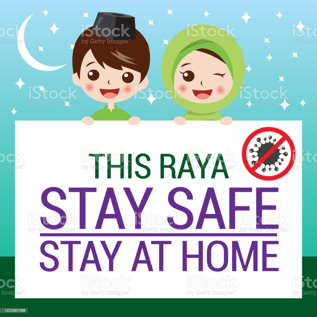 Selamat Hari Raya Aidilfitri And Please Stay At Home Stock Illustration Download Image Now Istock