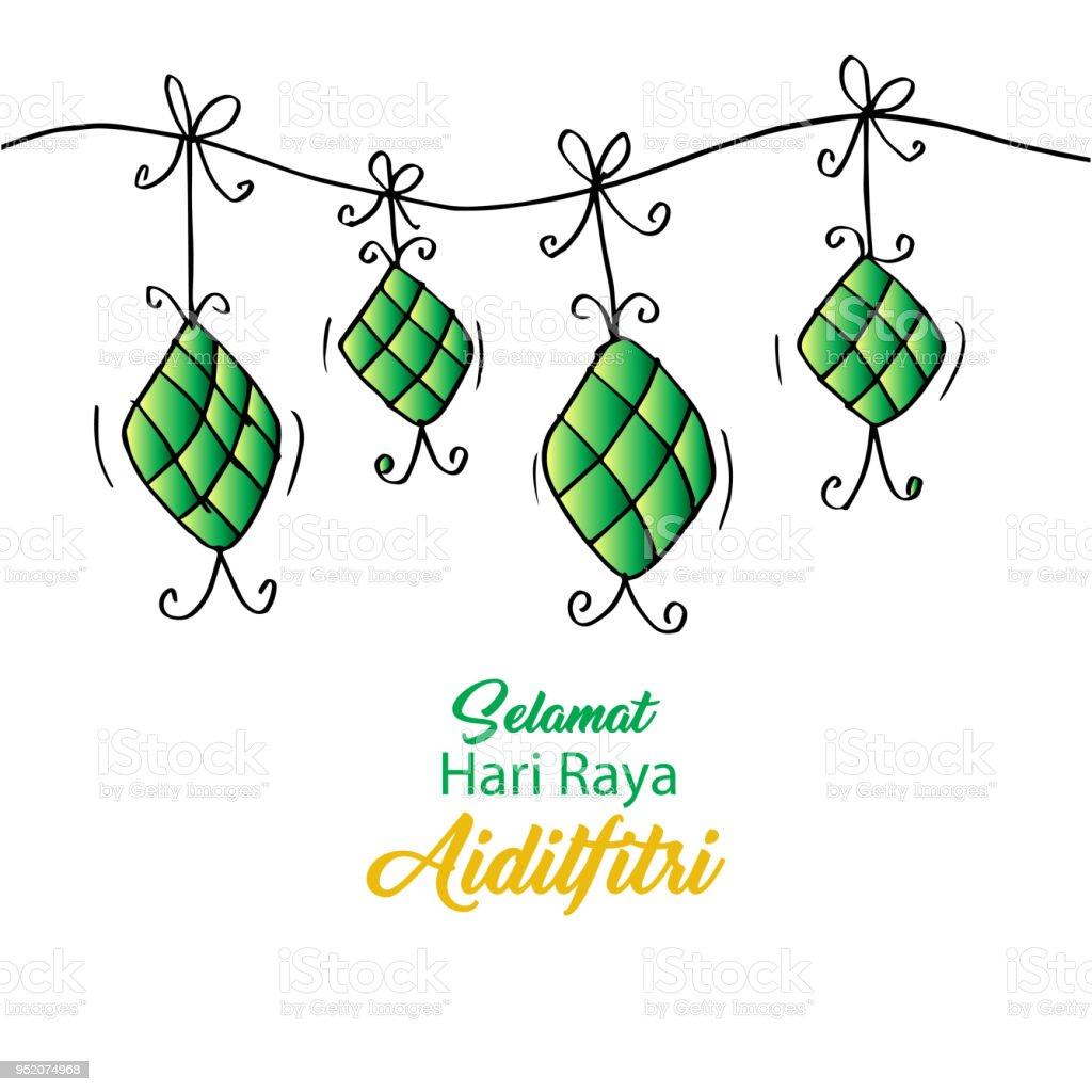 Selamat Hari Raya Aidilfitri greeting card. vector art illustration