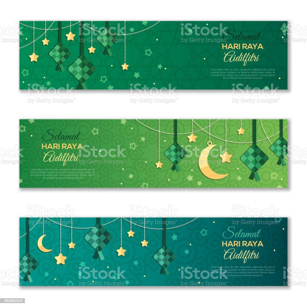Selamat Hari Raya Aidilfitri horizontal banners vector art illustration
