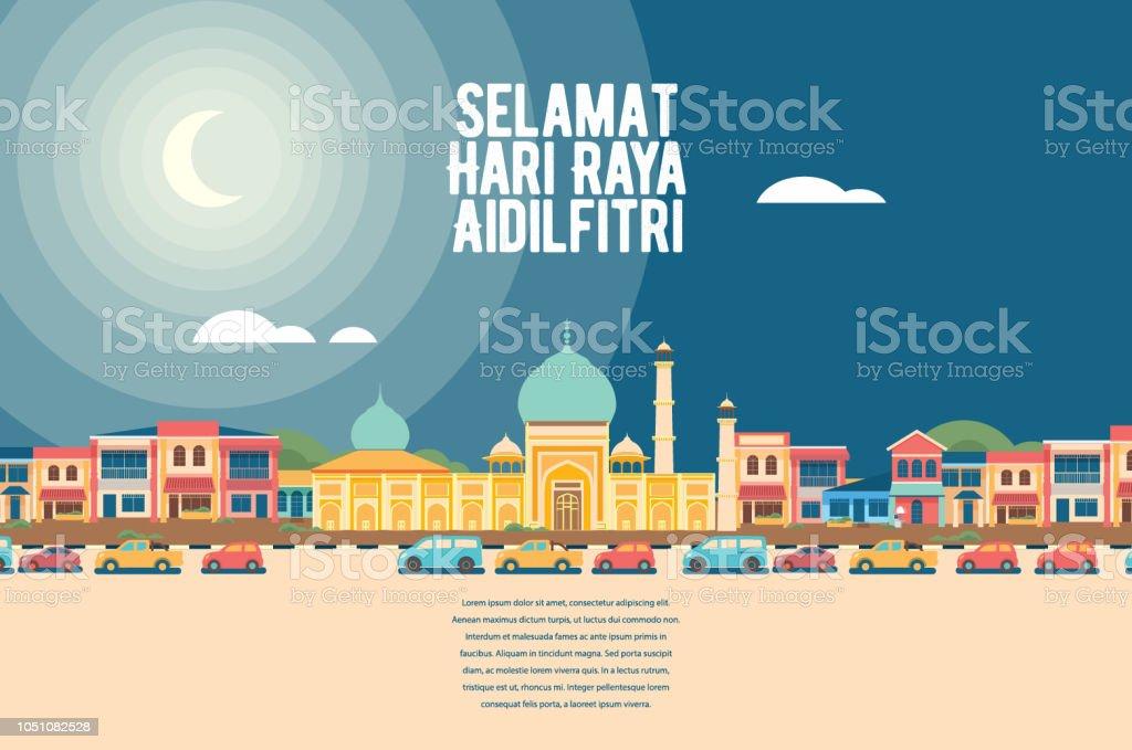 Selamat Hari Raya Aidilfitri - mosque street vector art illustration