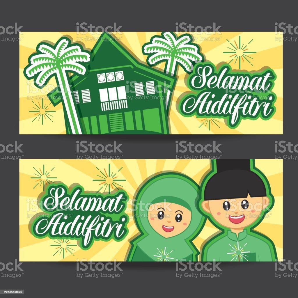 Selamat hari raya aidilfitri vector illustration banner with cute selamat hari raya aidilfitri vector illustration banner with cute muslim boy and girl and traditional malay open comp stopboris Gallery