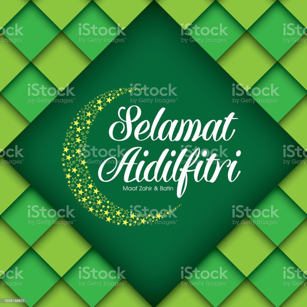 Selamat Hari Raya Aidilfitri vector illustration. Caption: Fasting Day of Celebration vector art illustration