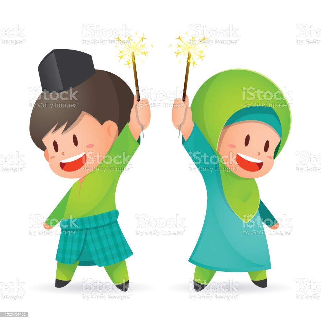 Selamat Hari Raya Aidilfitri vector illustration. Cute muslim kids having fun with sparklers vector art illustration