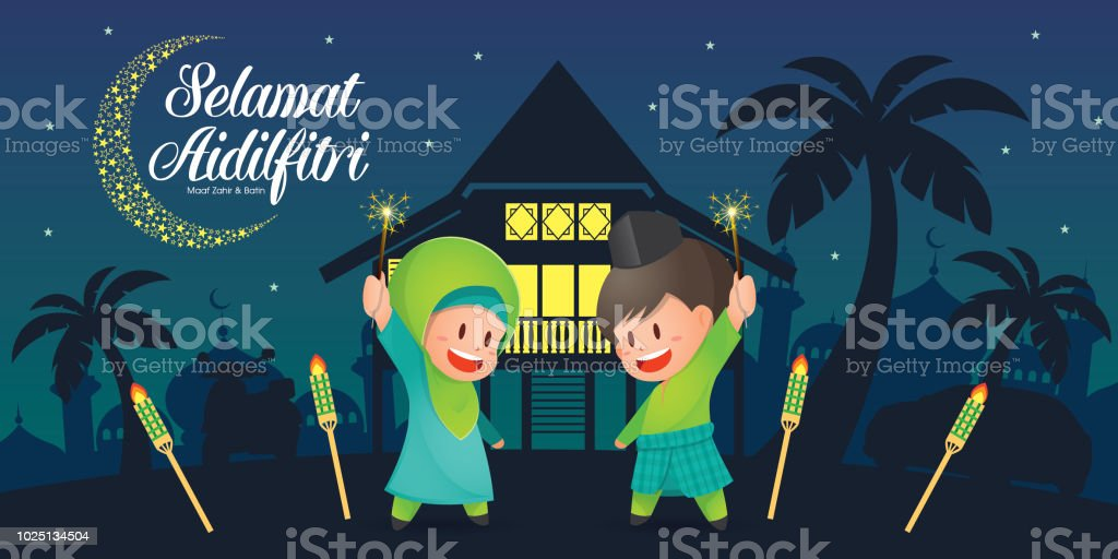 Selamat Hari Raya Aidilfitri vector illustration with cute muslim kids having fun with sparklers and traditional malay village house / Kampung and mosque. Caption: Fasting Day of Celebration vector art illustration