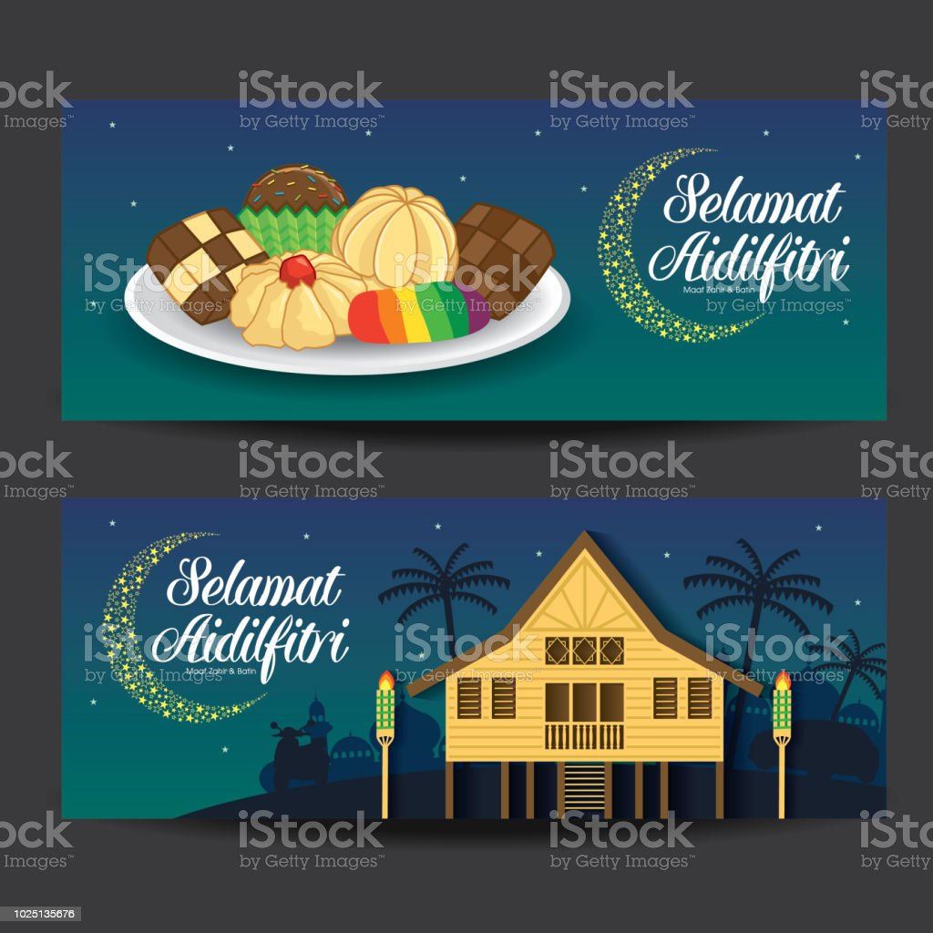Selamat Hari Raya Aidilfitri vector illustration with traditional malay village house / Kampung & kuih raya. Caption: Fasting Day of Celebration vector art illustration