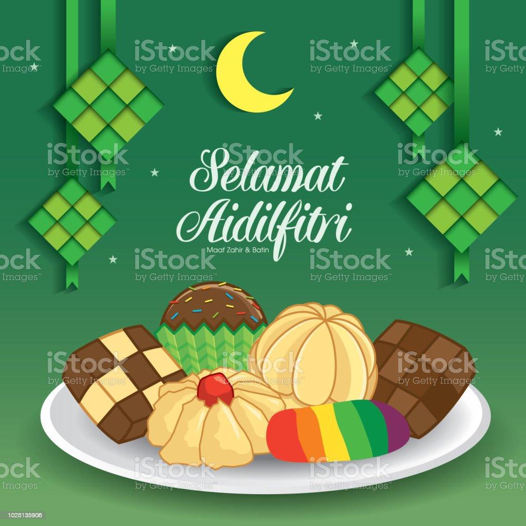 Selamat Hari Raya Aidilfitri vector illustration with traditional malay kuih raya & ketupat. Caption: Fasting Day of Celebration vector art illustration