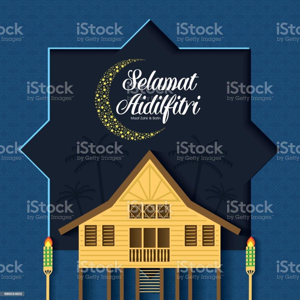 Selamat Hari Raya Aidilfitri vector illustration with traditional malay village house / Kampung. Caption: Fasting Day of Celebration vector art illustration