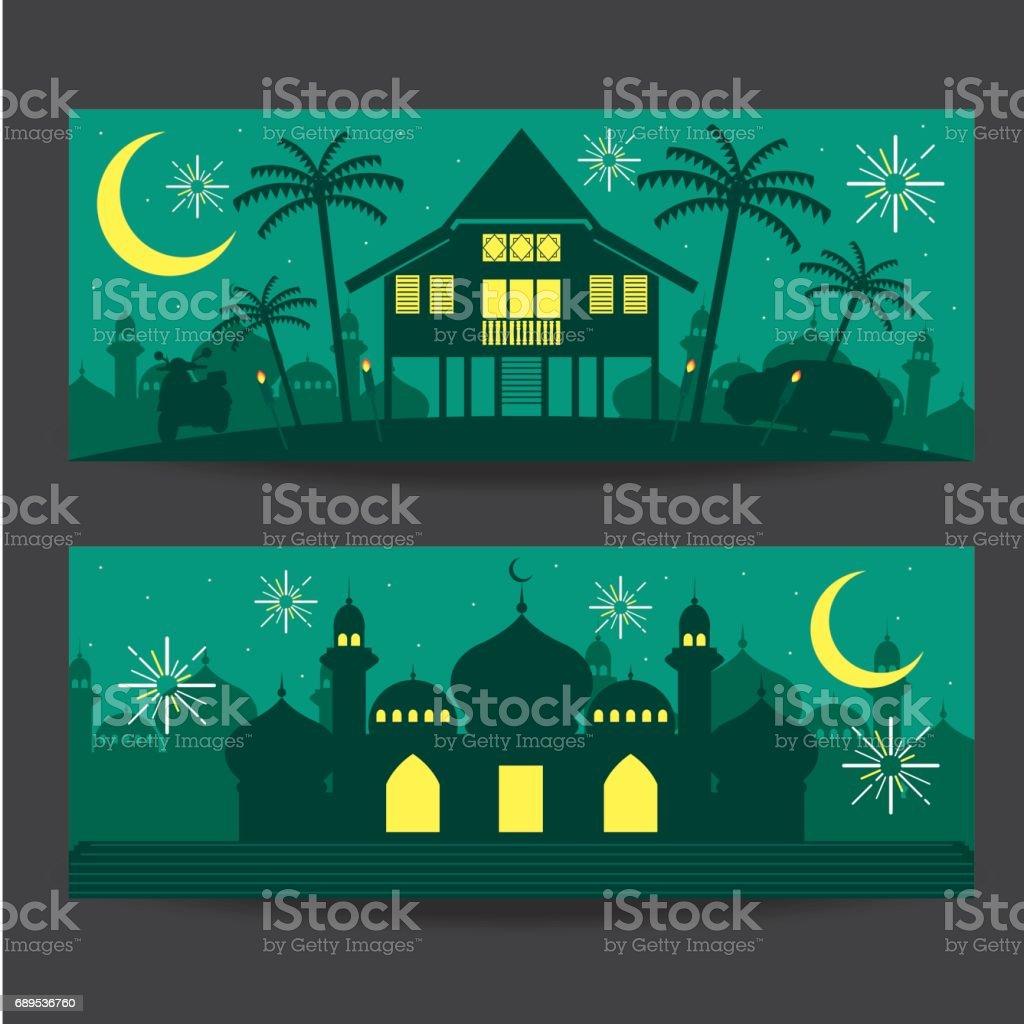 Selamat Hari Raya Aidilfitri vector illustration with traditional malay village house / Kampung and mosque. Caption: Fasting Day of Celebration vector art illustration