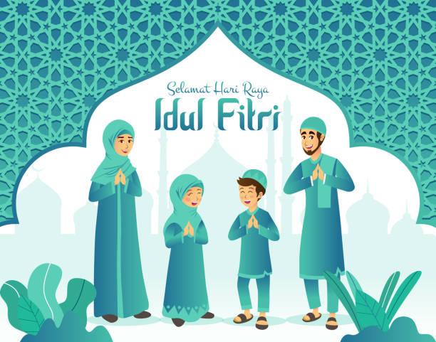 Selamat hari raya Idul Fitri is another language of happy eid mubarak in Indonesian. Cartoon muslim family celebrating Eid al fitr with mosque and arabic frame on background Eid, mubarak, greeting, illustration, cartoon eid mubarak stock illustrations