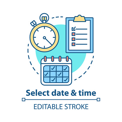 Select date and time concept icon. Choose day thin line illustration. Кeservation, booking. Time management and scheduling. Calendar and stopwatch. Vector isolated outline drawing. Editable stroke