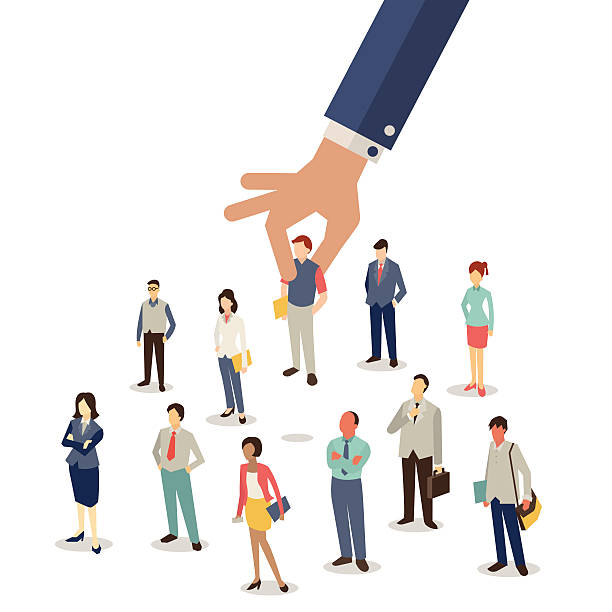 Selected employee Businessman hand picking up selected man from group of businesspeople. Recruitment concept. Flat design. choosing stock illustrations