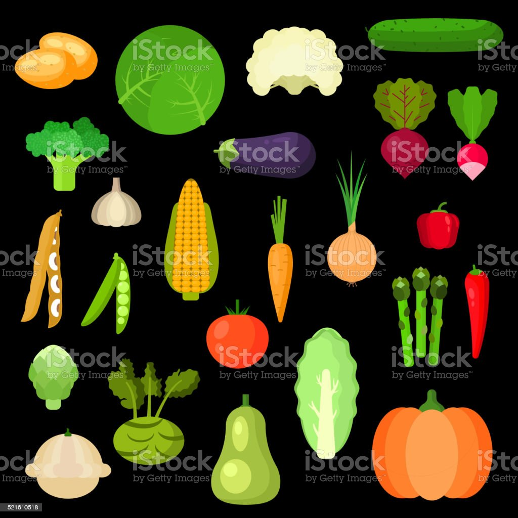 Selected healthful fresh vegetables flat icons vector art illustration
