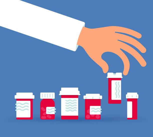 illustrazioni stock, clip art, cartoni animati e icone di tendenza di selecting a prescription drug - farmaco su prescrizione