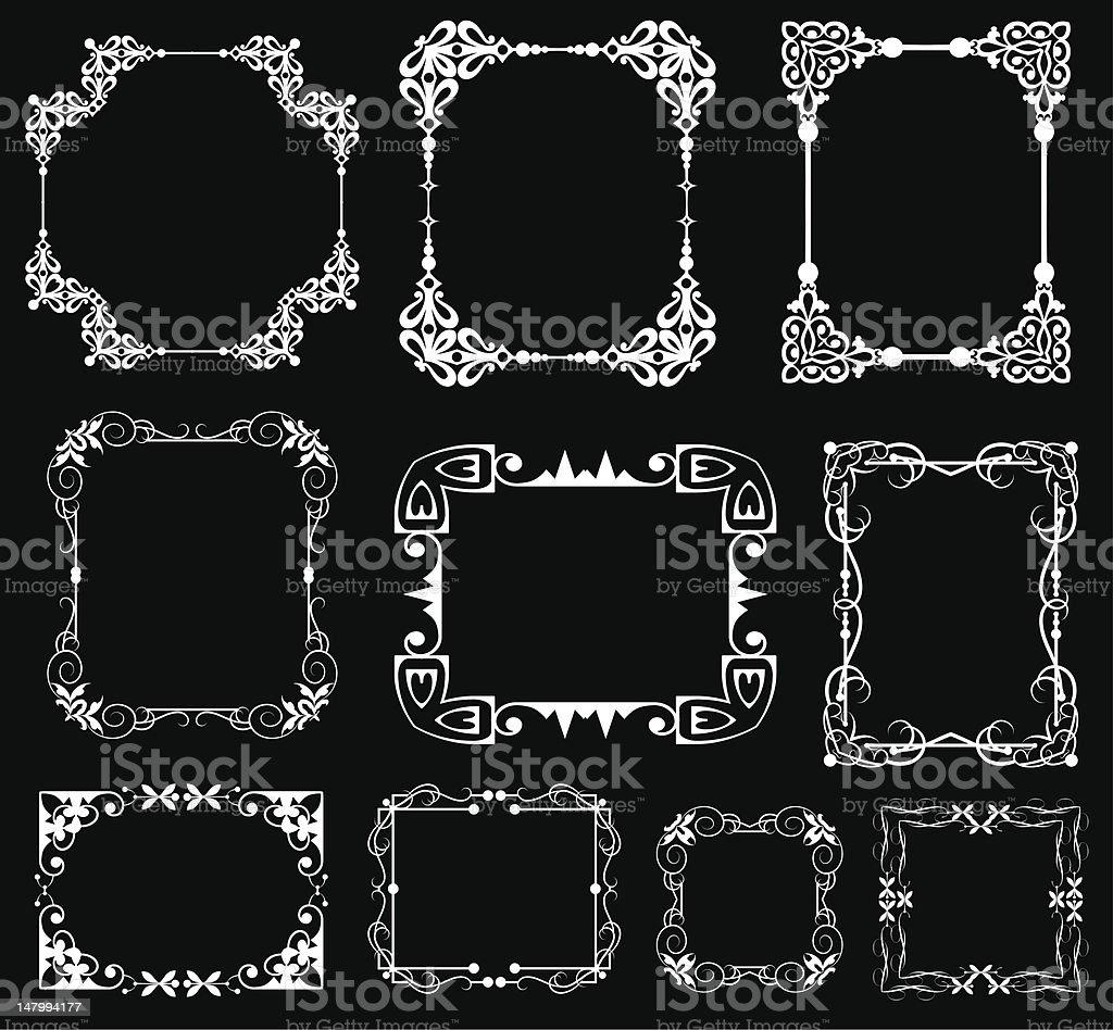 Selection of 9 white vintage frame elements on black vector art illustration