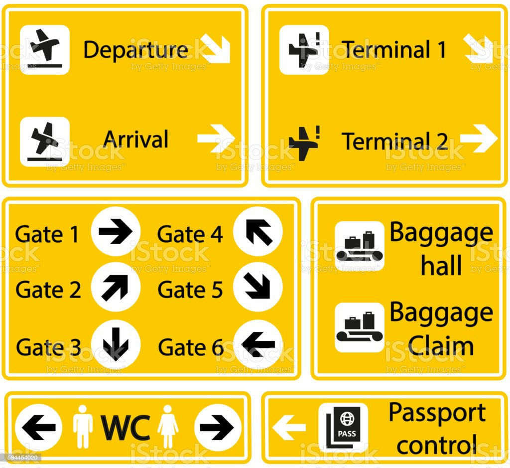 Selection Of Airport Signs Stock Illustration - Download ...