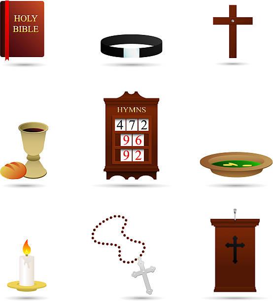 auswahl von christlichen religiösen symbole - kirchenschmuck stock-grafiken, -clipart, -cartoons und -symbole