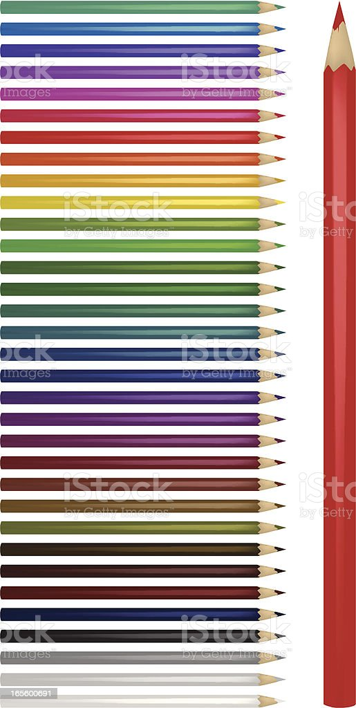 A selection of colored pencils with one large red pencil vector art illustration