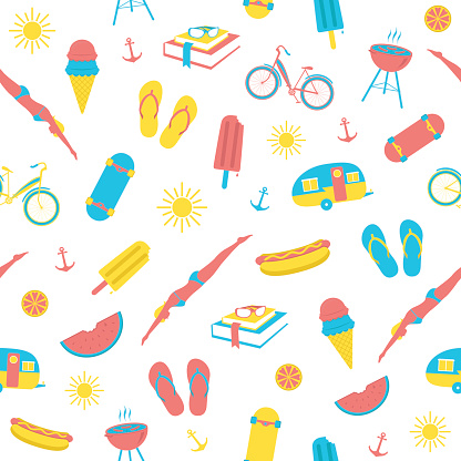 A selection of colorful summer icons