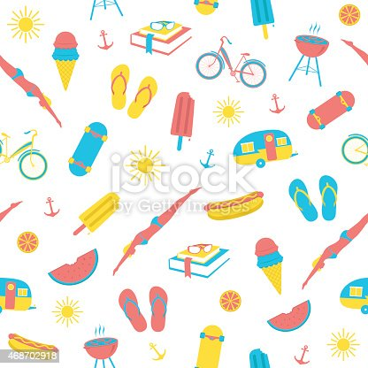 A seamless pattern of summer icons – from flip flops to popsicles. Ideal for a background.