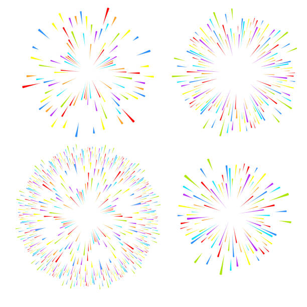 wybór fajerwerków na białym, odizolowanym tle. wektorowe elementy świąteczne do projektowania. - memorial day stock illustrations