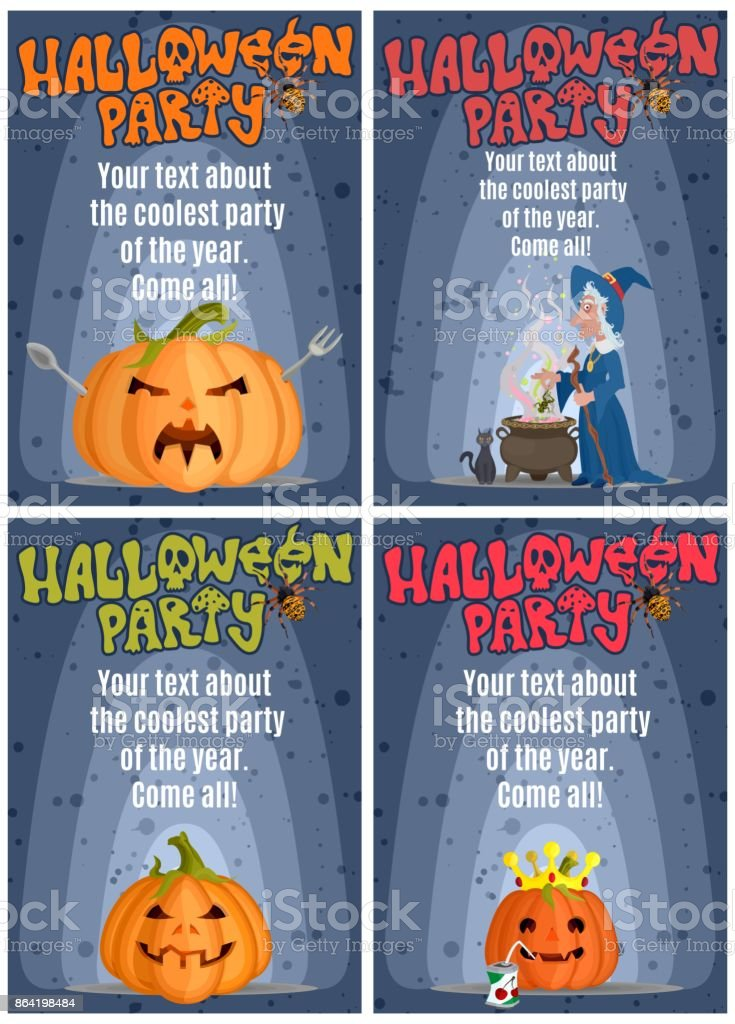 selection of posters for the holiday of a halloween party of the royalty-free selection of posters for the holiday of a halloween party of the stock vector art & more images of blogging