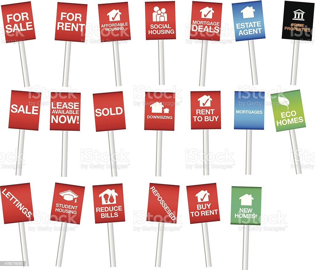 Auswahl an Eigentum oder Dienstwohnung sale-boards – Vektorgrafik