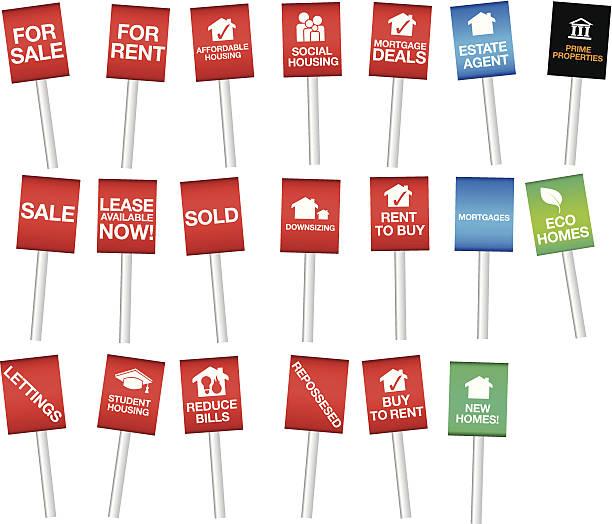 auswahl an eigentum oder dienstwohnung sale-boards - hypotheken kündigung stock-grafiken, -clipart, -cartoons und -symbole