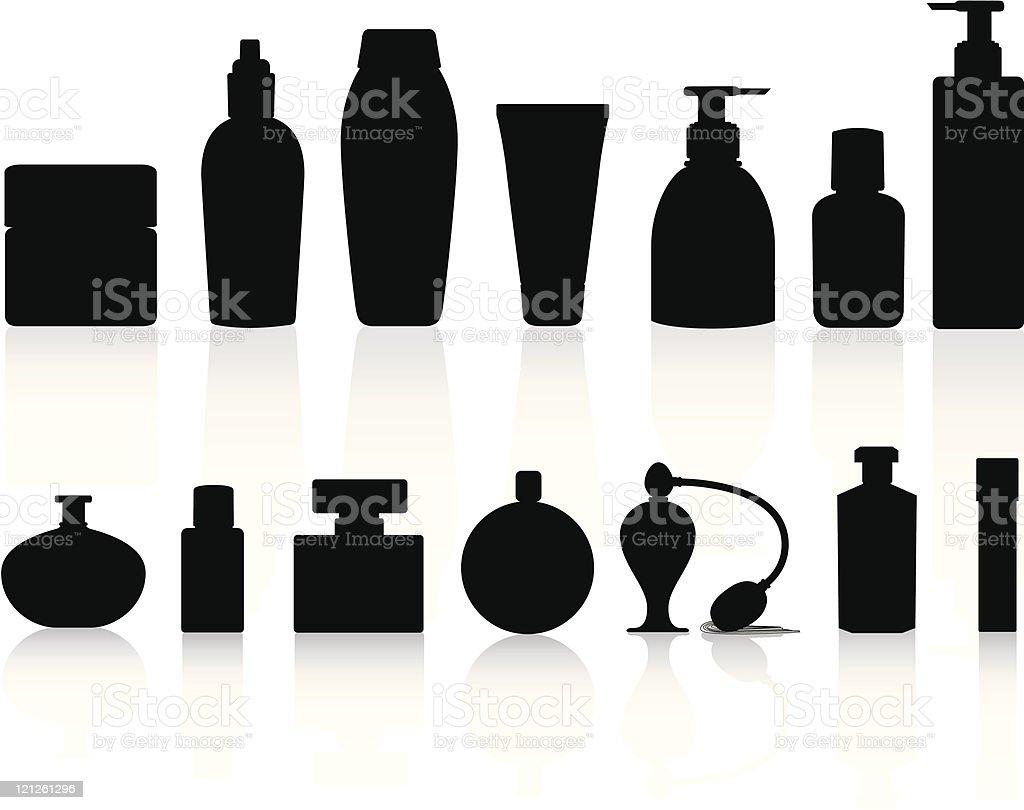 Seleção de silhuetas, incluindo perfumes e loção garrafas - ilustração de arte em vetor