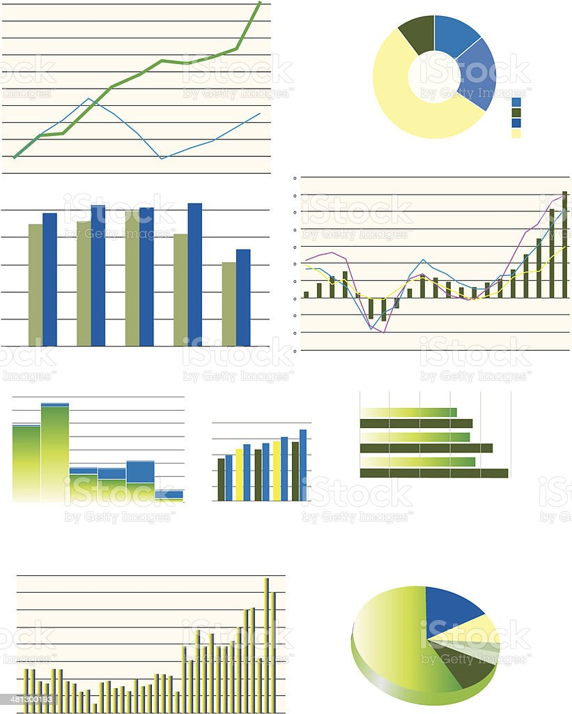 selection of typical business performance graphs vector art illustration