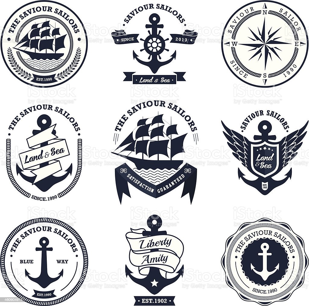 Selection of vintage retro nautical badges and icons vector art illustration