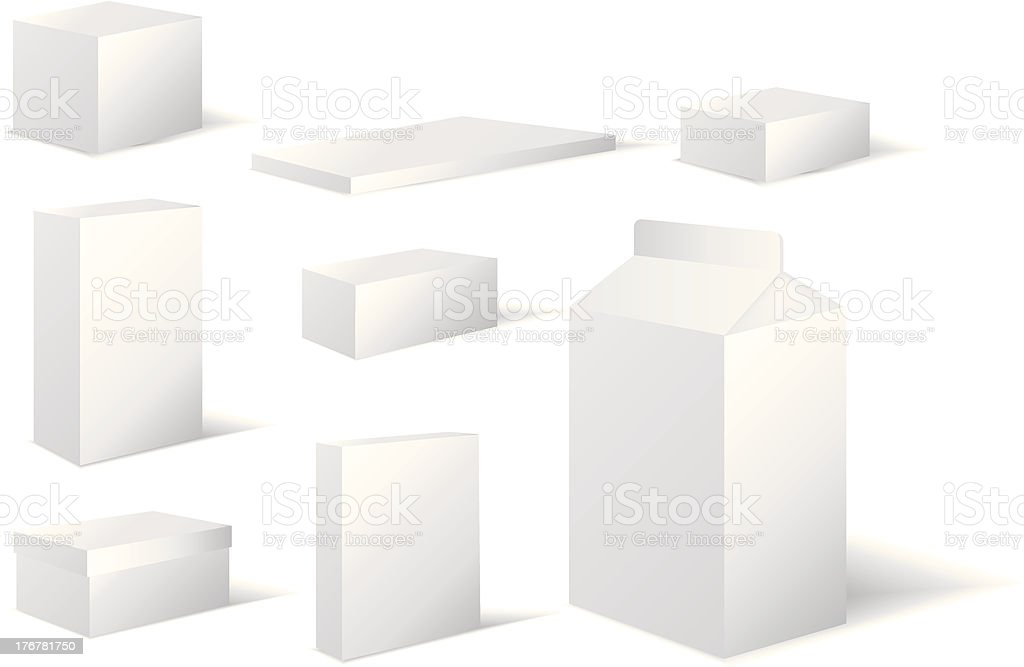 selection of white different sized blank boxes royalty-free stock vector art