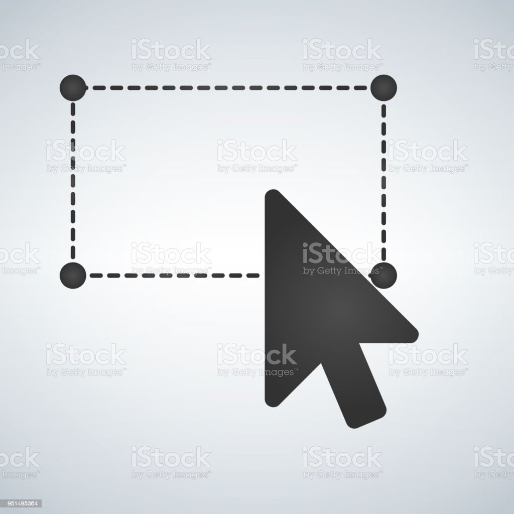 Selection tool with mouse cursor, dashed line and corcles in the corners. Vector illustration isolated on modern background. vector art illustration