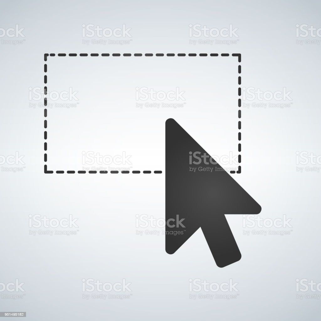 Selection tool with mouse cursor, dashed line. Vector illustration isolated on modern background. vector art illustration